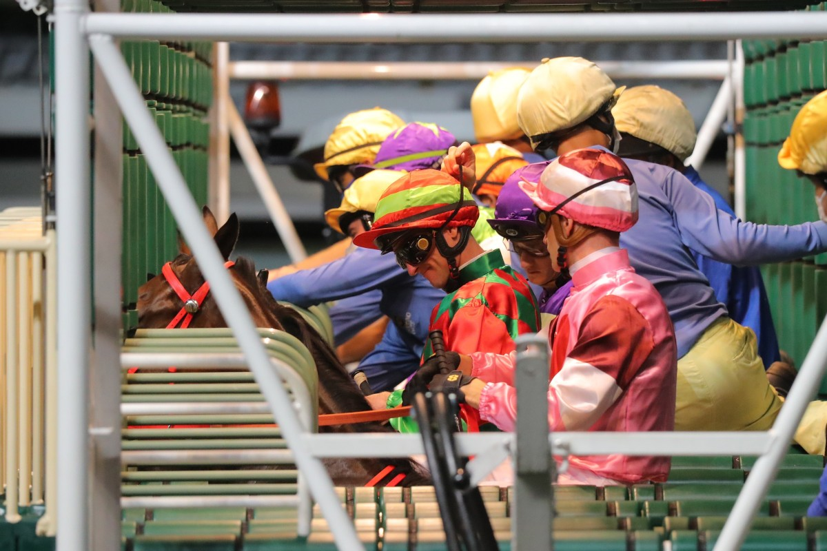 Jockeys line up to race at Happy Valley. Photos: Kenneth Chan