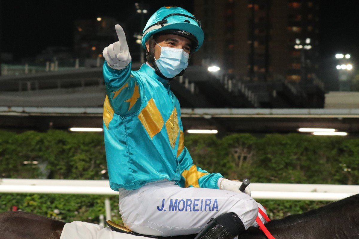 Joao Moreira celebrates his 1,000th Hong Kong winner at Happy Valley on Wednesday night. Photos: Kenneth Chan
