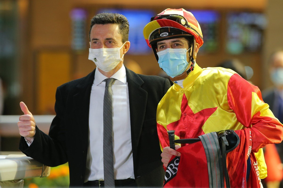 Douglas Whyte and Christophe Soumillon celebrate Savvy Nine's win in the January Cup. Photos: Kenneth Chan