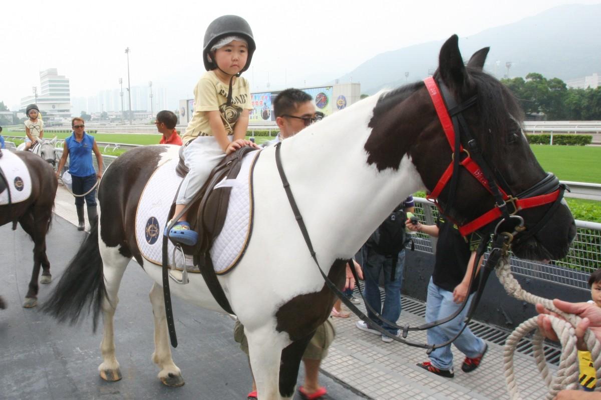 Children enjoy the pony rides during a preseason carnival at Sha Tin racecourse. Photo: Kenneth Chan