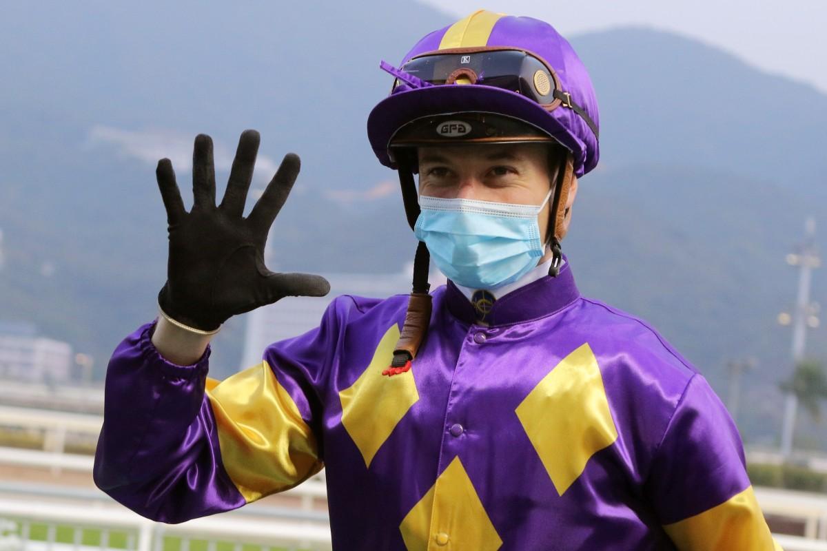 Antoine Hamelin enjoys his five winners at Sha Tin on Sunday. Photo: Kenneth Chan