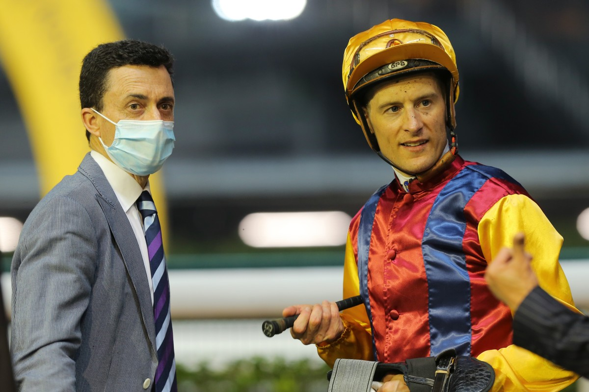 Trainer Douglas Whyte and jockey Blake Shinn after a winner at Happy Valley. Photos: Kenneth Chan
