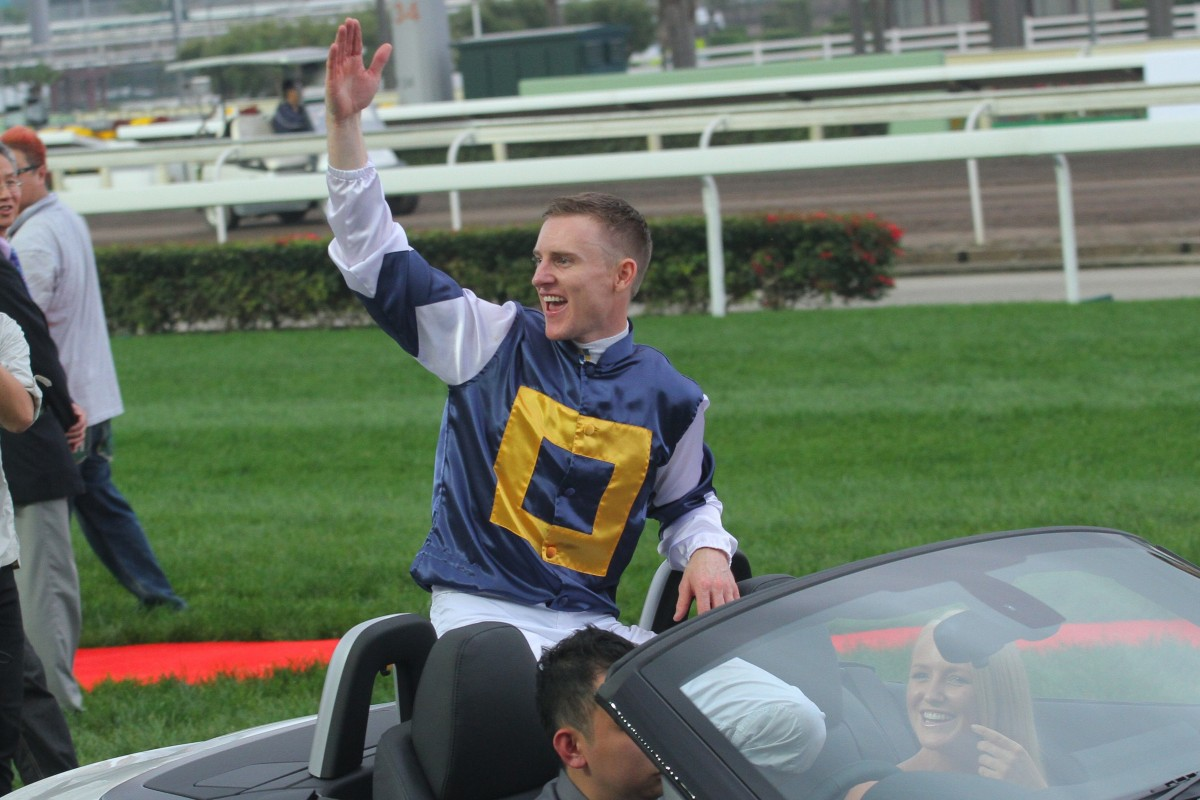 Zac Purton celebrates his 2015 Hong Kong Derby win aboard Luger. Photos: Kenneth Chan