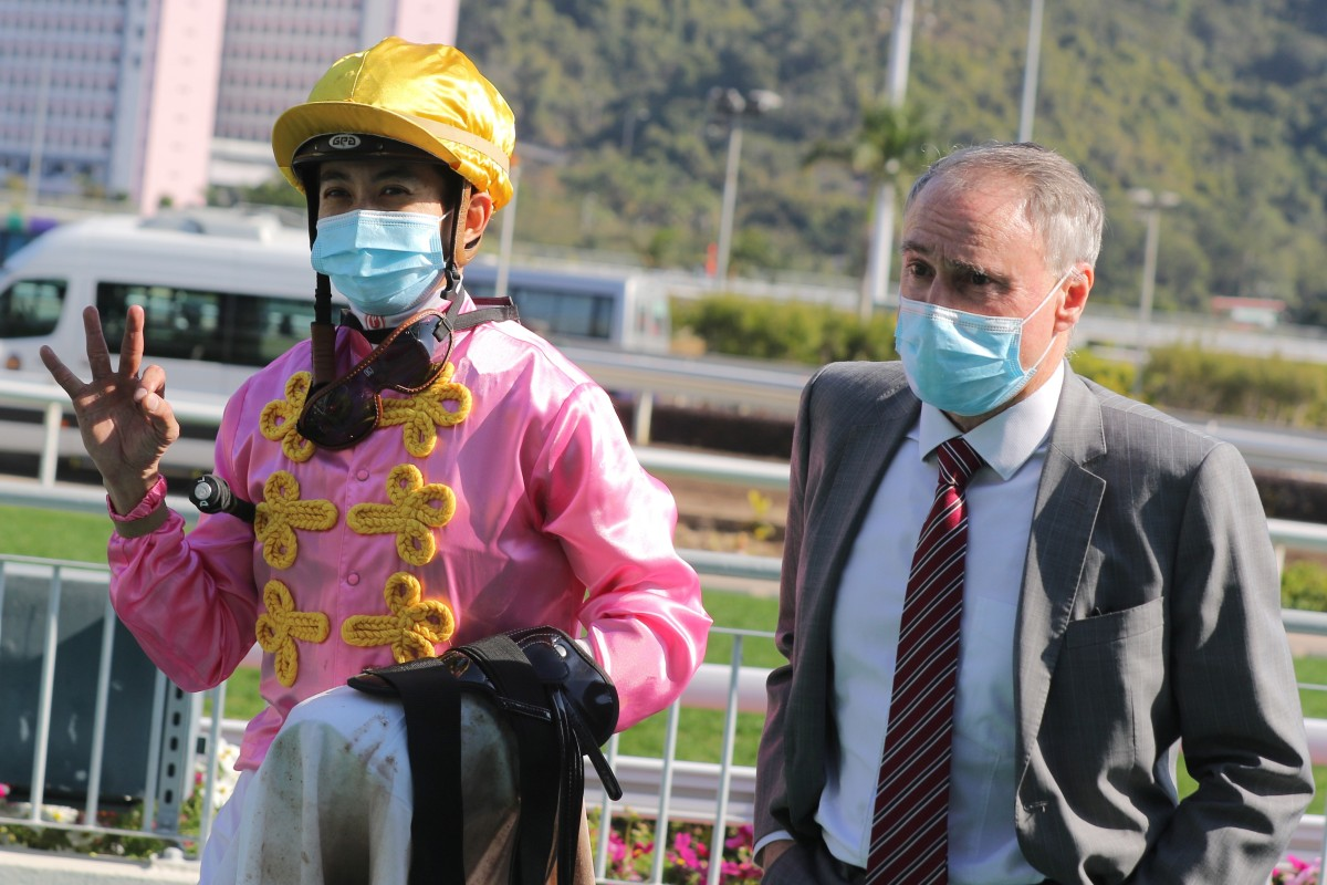 Derek Leung celebrates his treble at Sha Tin on Saturday. Photos: Kenneth Chan