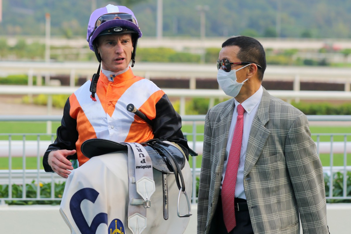 Jockey Zac Purton and trainer Benno Yung after a winner. Photos: Kenneth Chan