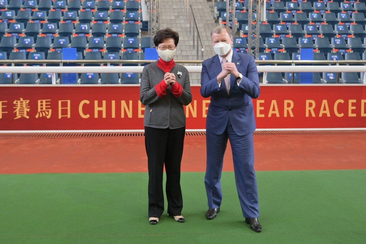 Carrie Lam and Winfried Engelbrecht-Bresges at Sha Tin during the week. Photo: Facebook