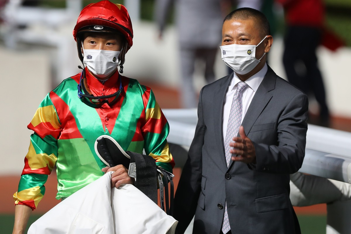 Jockey Vincent Ho (left) and trainer Danny Shum celebrate Tourbillon Diamond's victory at Sha Tin in December. Photos: Kenneth Chan