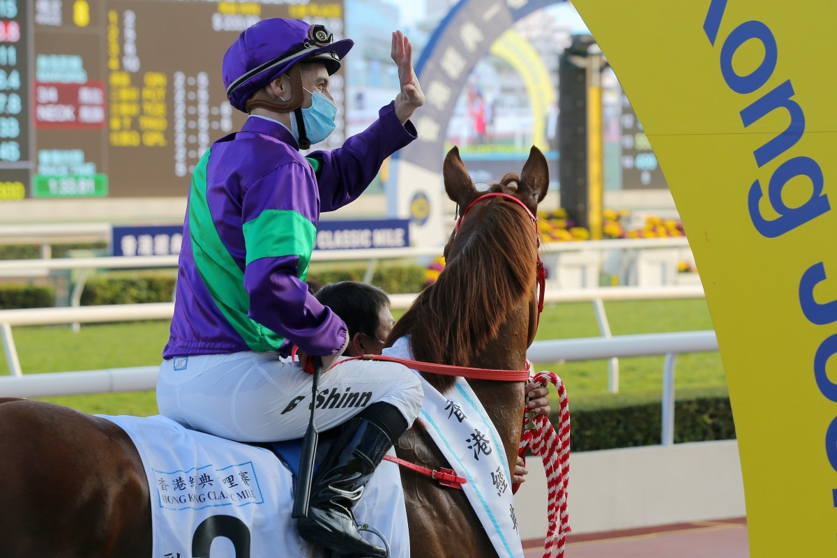 Blake Shinn after winning aboard Excellent Proposal in the Classic Mile last month. Photos: Kenneth Chan