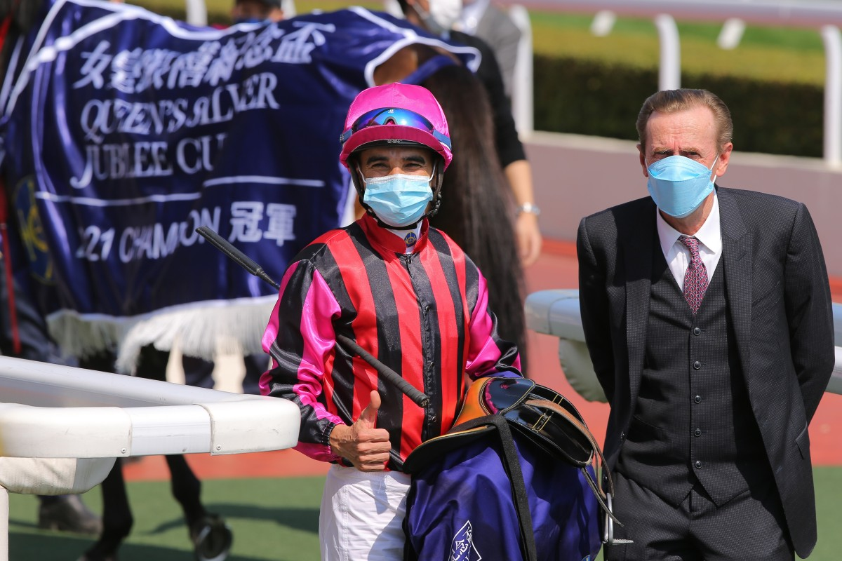 Joao Moreira and John Size celebrate Waikuku's win in the Group One Silver Jubilee Cup. Photos: Kenneth Chan