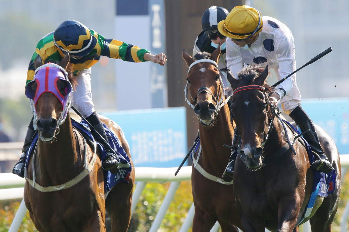 Joao Moreira on Furore tries to give Vincent Ho on Golden Sixty a fist bump after Sunday's Hong Kong Gold Cup. Photos: Kenneth Chan