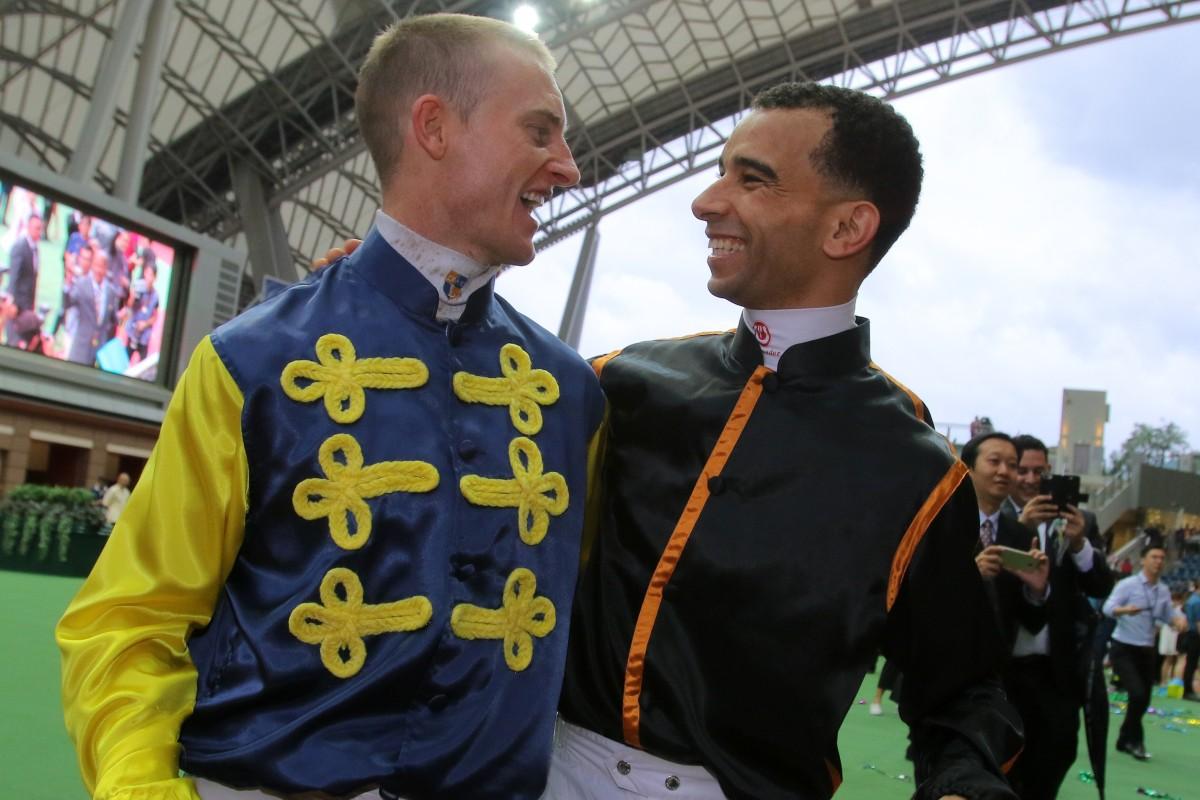 Champion jockeys Zac Purton (left) and Joao Moreira at Sha Tin. Photos: Kenneth Chan