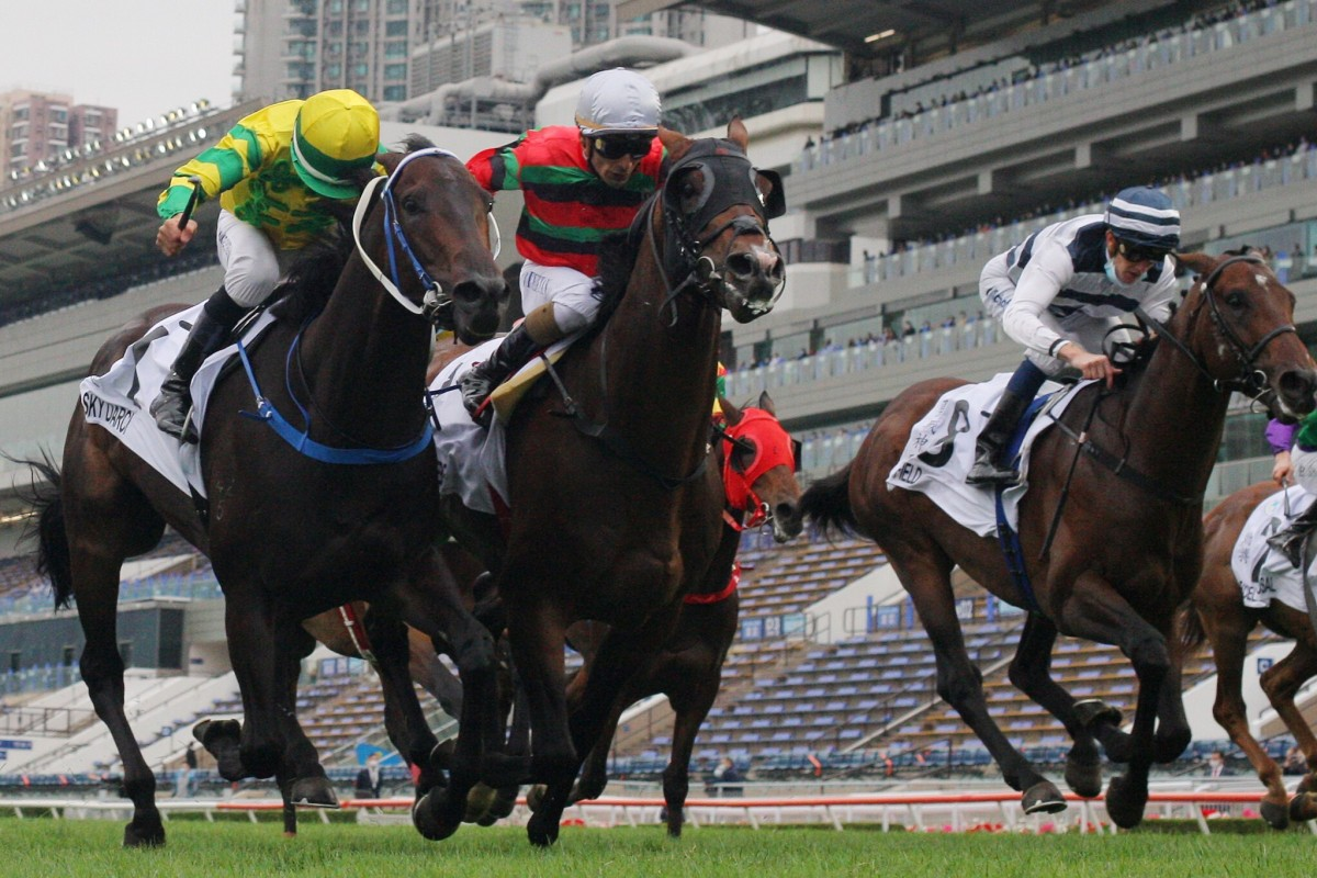 Sky Darci (left) and Russian Emperor fight out the finish of Sunday's Hong Kong Derby. Photos: Kenneth Chan