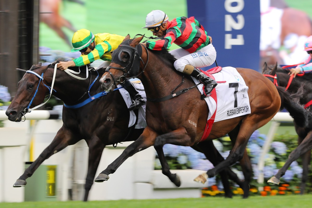 Russian Emperor (right) finishes second to Sky Darci in the Hong Kong Derby. Photos: Kenneth Chan