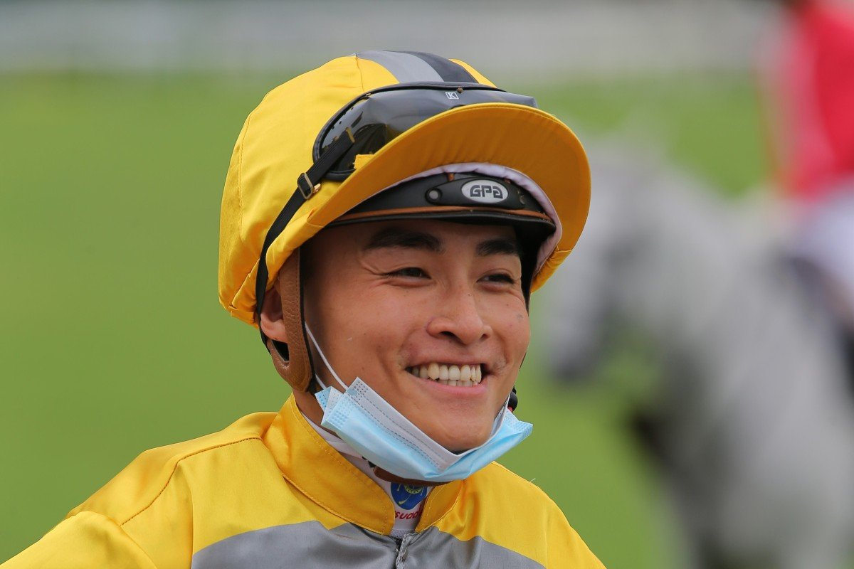 Jockey Keith Yeung enjoys a winner. Photos: Kenneth Chan