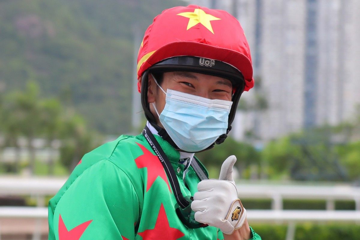 Jerry Chau is all smiles after riding his 50th winner this season. Photos: Kenneth Chan