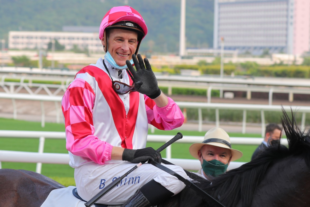 Blake Shinn is all smiles after completing his four-timer aboard Super Wealthy. Photo: Kenneth Chan