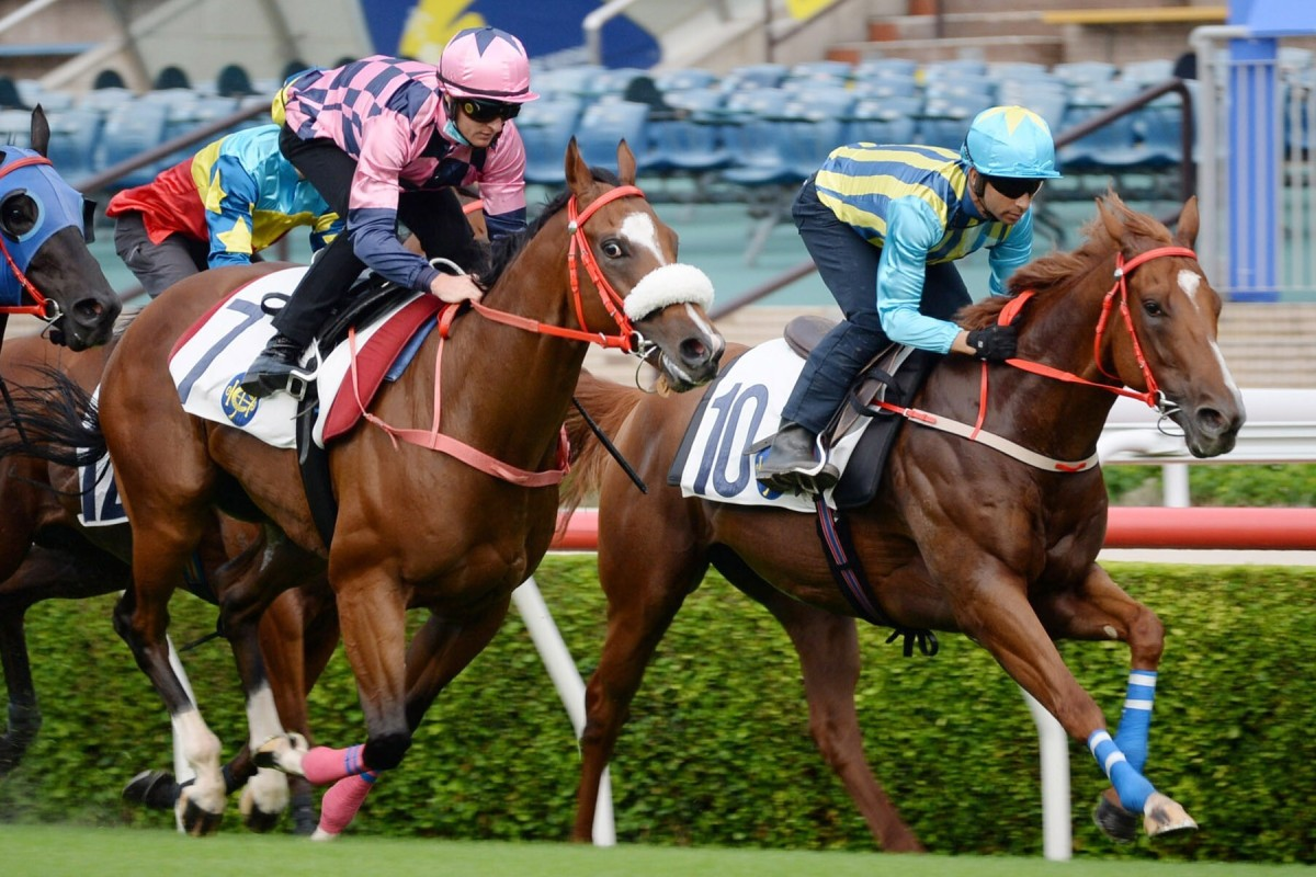 Joao Moreira trials Five Elements (right) at Sha Tin last month. Photos: Kenneth Chan