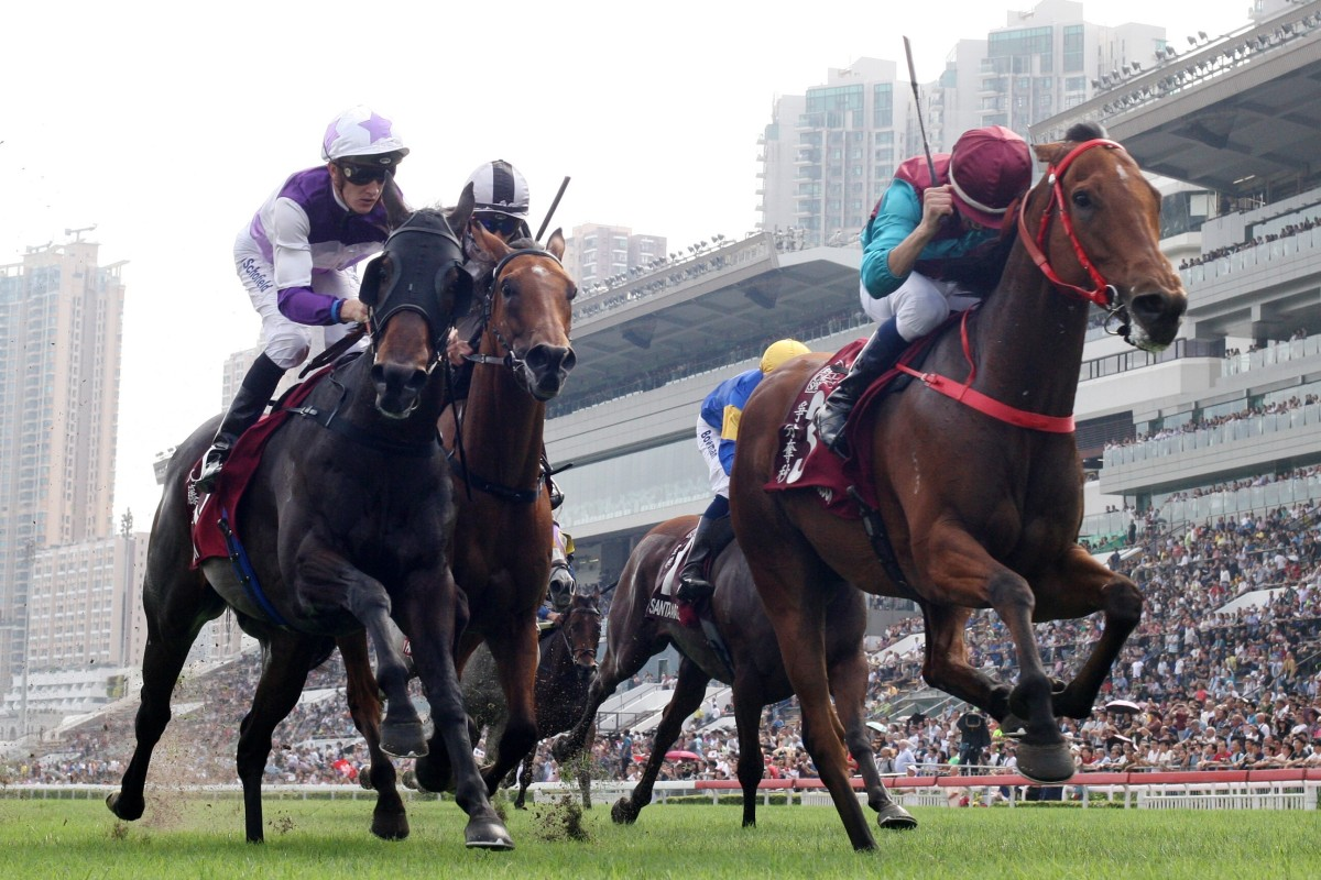Rattan (left) finishes second to Beat The Clock at Group One level. Photos: Kenneth Chan