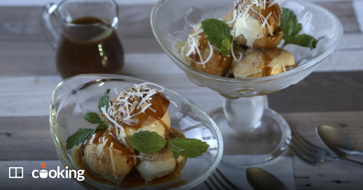 Pandan and coconut profiteroles with gula melaka recipe
