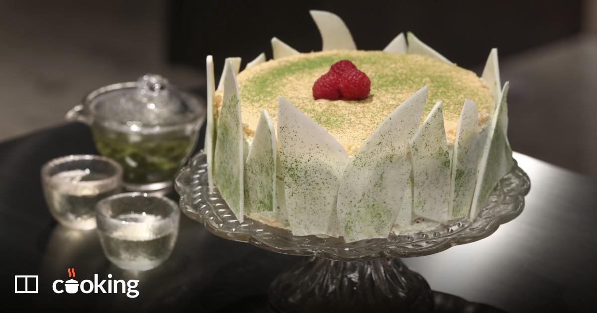 White chocolate and green tea mousse cake recipe