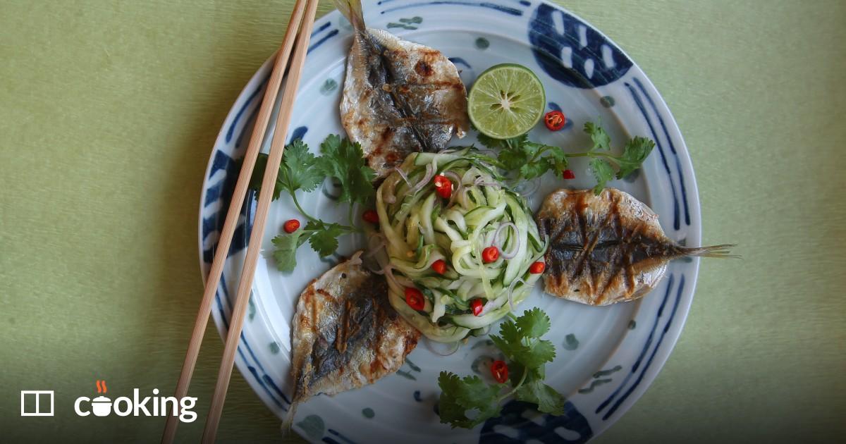 "Easy Grilled mackerel with cucumber ""spaghetti"" recipe"