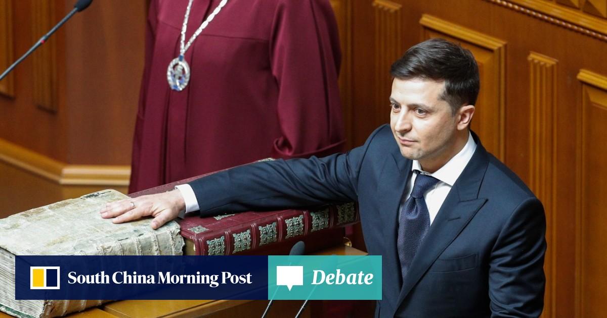 Comedian Volodymyr Zelensky takes office as Ukraine's