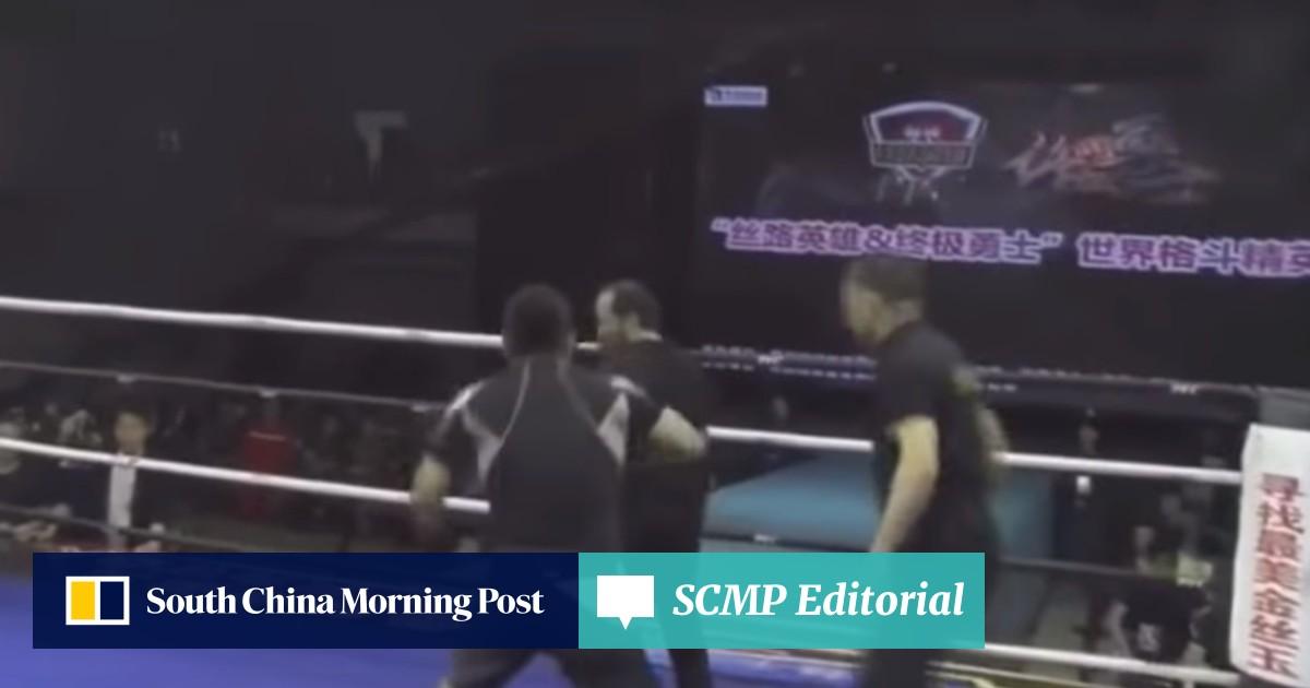 Chinese MMA fighter Xu Xiaodong breaks balding wing chun master's
