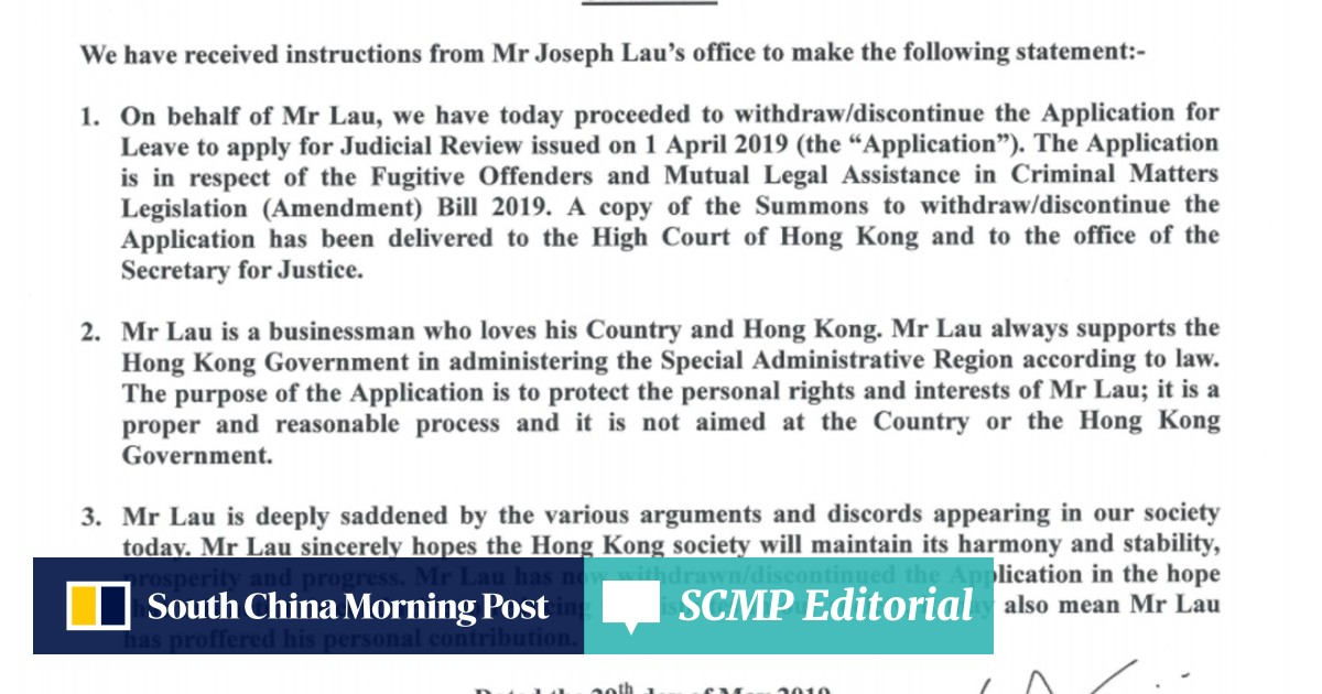 Fugitive tycoon Joseph Lau withdraws legal challenge against Hong