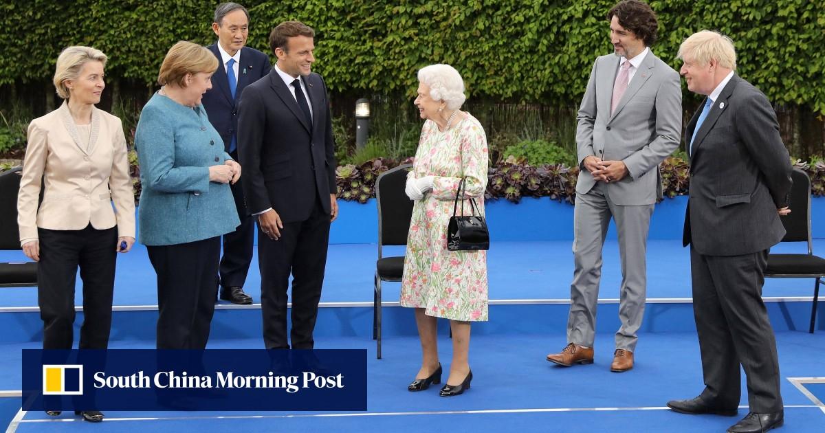 Queen Elizabeth and senior British royals host G7 leaders at garden reception