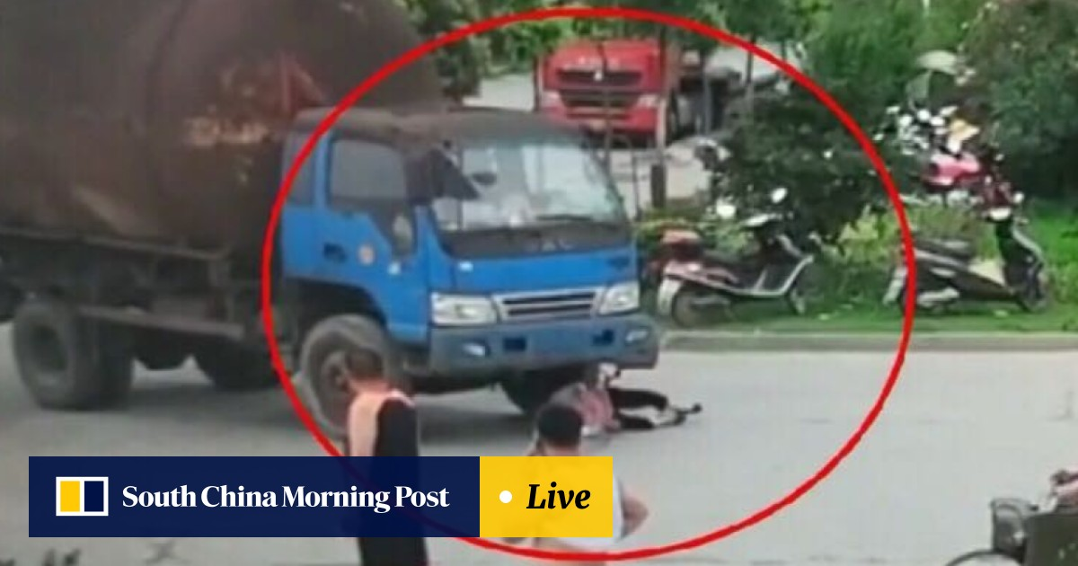 Chinese woman caught on camera faking road accident in bid to win