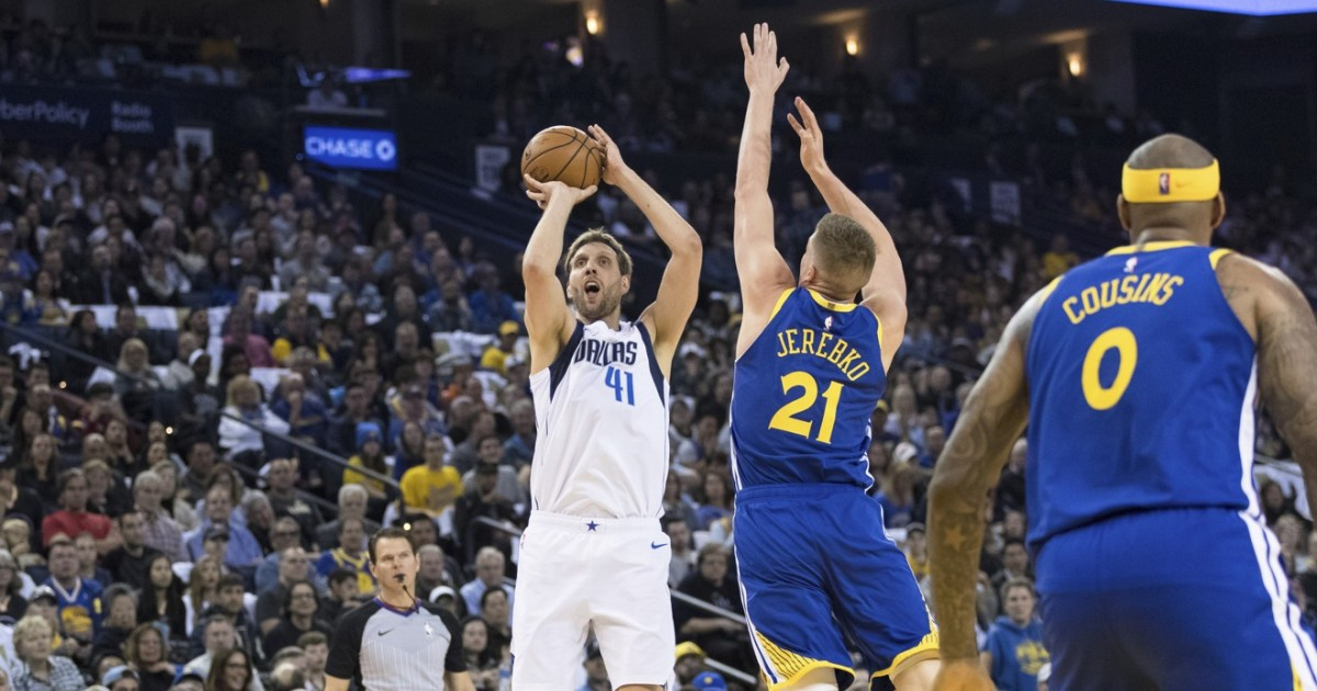 7e1adcdf93b2 Dirk Nowitzki farewell gives vintage performance in farewell game at Oracle  Arena