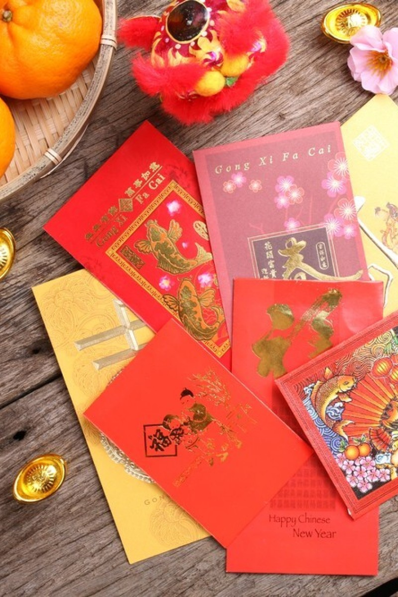 Lai See 50-Pack Great Luck and Great Benefits with Auspicious Mandarins Chinese New Year Hongbao HB-4 US Lucky Money Red Envelops