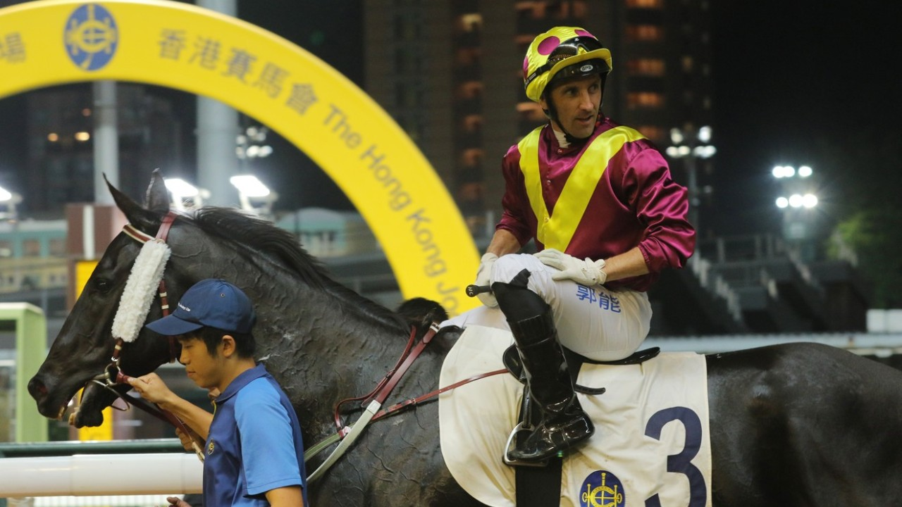 Race 6, Happy Warrior, ridden by Neil Callan, won the class 4 over 1200m at Happy Valley on 16,Oct19.