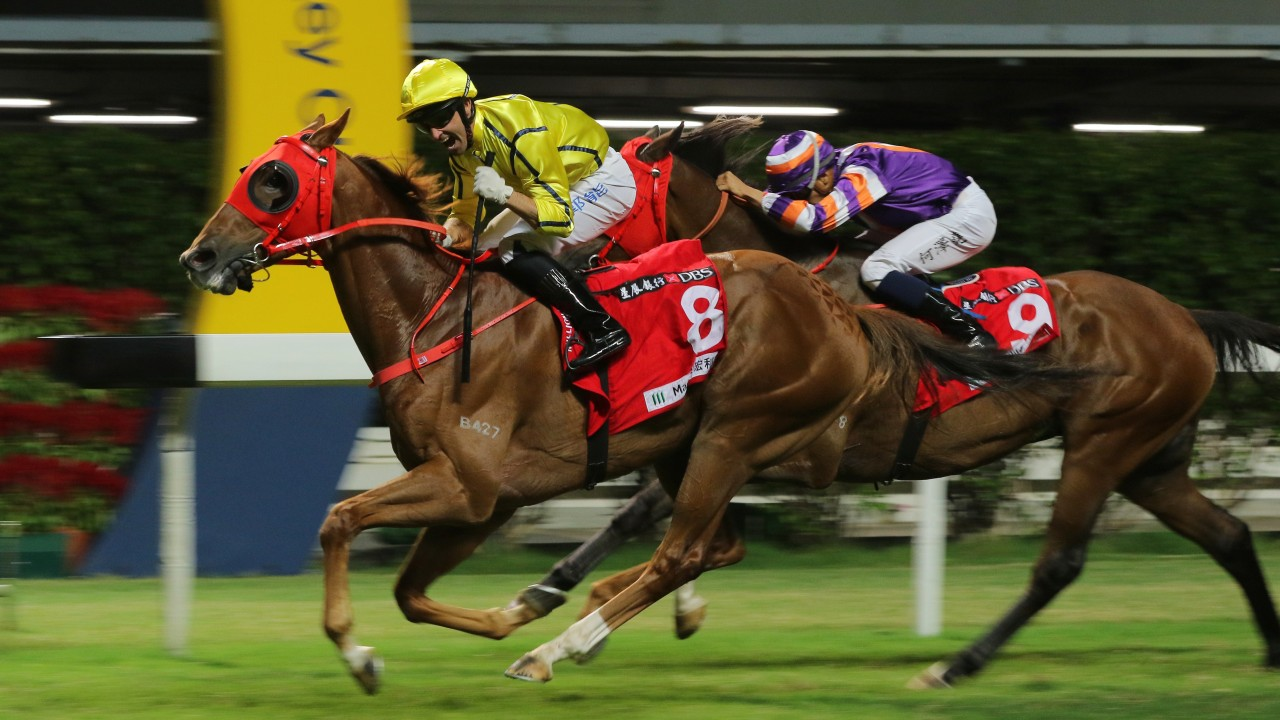Neil Callan celebrates as Owners' Star salutes at Happy Valley on Wednesday night. Photos: Kenneth Chan