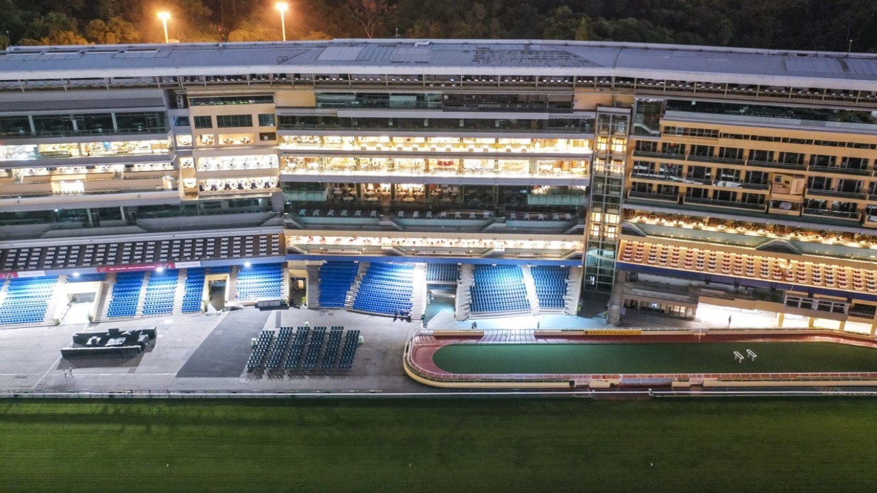 Image of the racecourse at Happy Valley. The racecourse at Happy Valley is deserted as Hong Kong Jockey Club decided to cancel a race meeting at Happy Valley course. 18SEP19 SCMP / Martin Chan