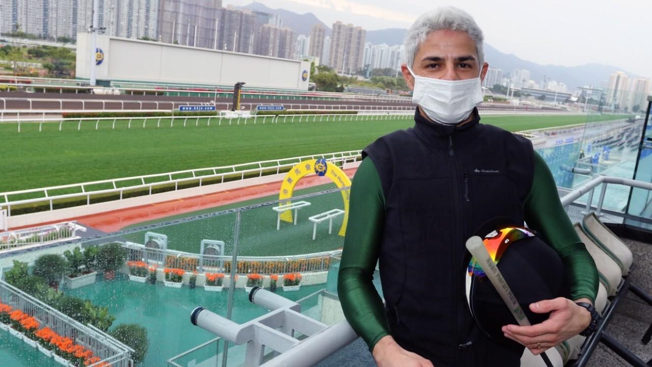 Jockey Ruan Maia meets the media at Sha Tin trackwork. 25FEB21 SCMP / Kenneth Chan.